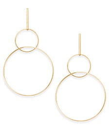 "Thalia Sodi Gold-Tone Extra Large 4"" Interlocking Drop Hoop Earrings, Created for Macy's"