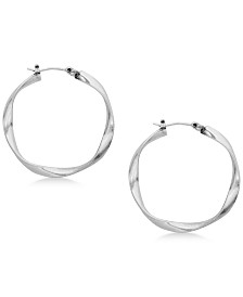 "Lucky Brand Twisted 1-1/4"" Hoop Earrings"