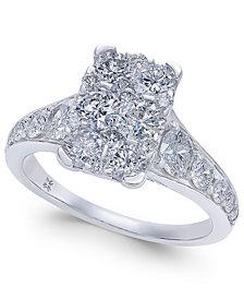 Diamond Rectangular Cluster Engagement Ring (2 ct. t.w.) in 14k White Gold