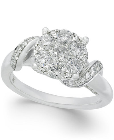 Diamond Cluster Swirl Engagement Ring (1-1/4 ct. t.w.) in 14k White Gold