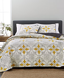 Martha Stewart Collection Cotton Fleur-De-Lis Quilt & Sham Collection, Created for Macy's