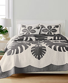 Martha Stewart Collection Maui Medallion Cotton Twin Quilt, Created for Macy's