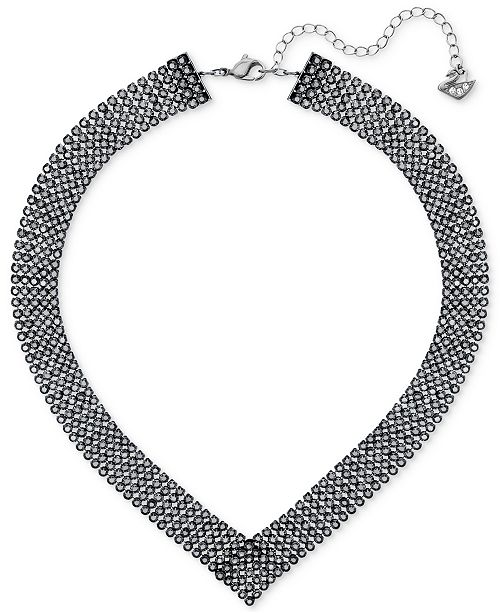 Swarovski Silver-Tone Jet Crystal Collar Necklace