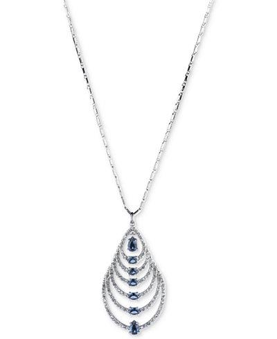 Carolee Silver-Tone Graduated Teardrop Stone Pendant Necklace