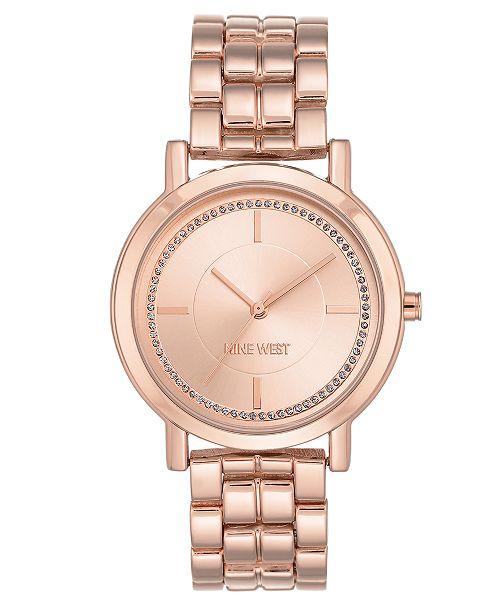 107537a92375 Nine West Women s Rose Gold-Tone Bracelet Watch 38mm   Reviews