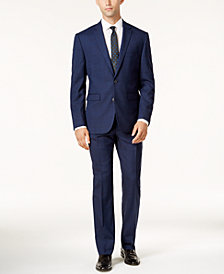 Vince Camuto Men's Slim-Fit Blue & Burgundy Tonal Windowpane Suit