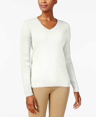 Karen Scott Petite Cotton Ribbed V-Neck Sweater, Created for ...