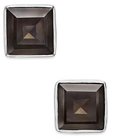 Gold-Tone Square Stone Stud Earrings