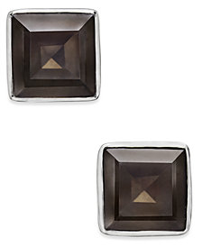 Paul & Pitü Naturally Gold-Tone Square Stone Stud Earrings