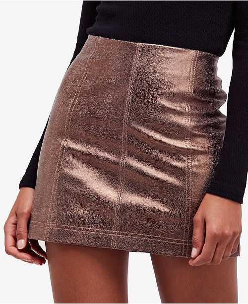 5cf3d65f7670 Free People Metallic Faux-Leather Mini Skirt   Reviews - Skirts ...