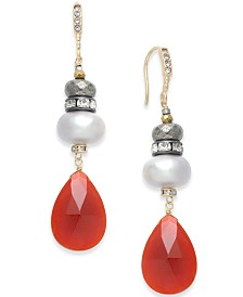 Paul & Pitü Naturally Two-Tone Pavé, Imitation Pearl & Red Stone Drop Earrings