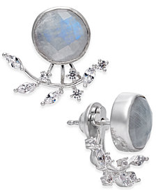 Paul & Pitü Naturally Silver-Tone Moonstone Stud Earrings