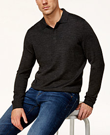 Club Room Men's Long-Sleeve Merino Performance Sweater Polo