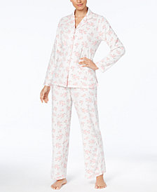 Charter Club Printed Fleece Pajama Set, Created for Macy's