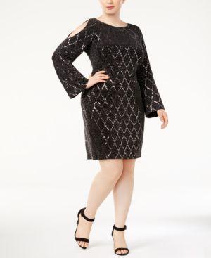 Jessica Howard Plus Size Embellished Cold-Shoulder Sheath Dress 4974335