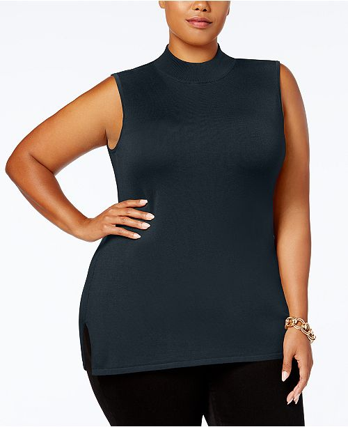 7fadbd031c ... JM Collection Plus Size Mock-Neck Sleeveless Sweater