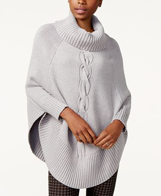 Maison Jules Cable-Knit Poncho Sweater, Created for Macy's