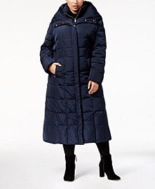Signature Plus Size Hooded Maxi Puffer Coat