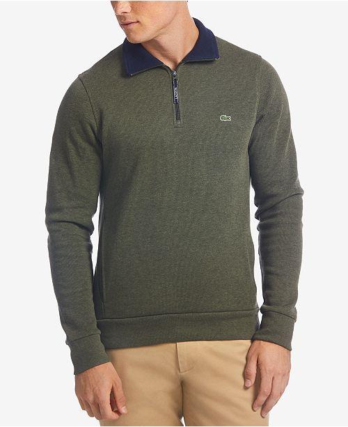642ccf1bf2 Lacoste Men's Ribbed Quarter-Zip Cotton Sweatshirt & Reviews ...