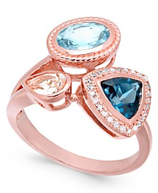 Multi-Gemstone (2-1/4 ct. t.w.) & Diamond (1/10 ct. t.w.) Cluster Ring in Sterling Silver