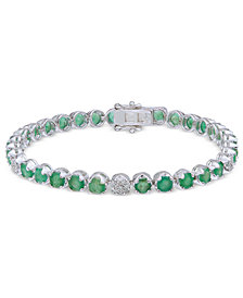 Emerald (7-1/2 ct. t.w.) & Diamond (1/3 ct. t.w.) Tennis Bracelet in Sterling Silver