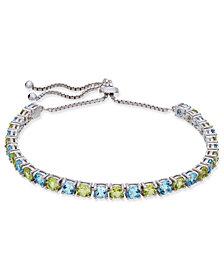 Blue Topaz (3 ct. t.w.) & Peridot (3 ct. t.w.) Slider Bracelet in Sterling Silver