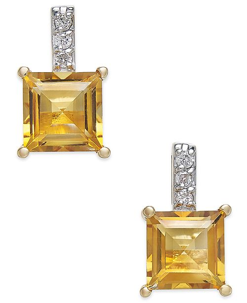 Macy's Citrine (2-1/5 ct. t.w.) & Diamond Accent Drop Earrings in 14k Gold
