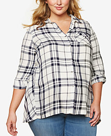 Motherhood Maternity Plus Size Plaid Tunic