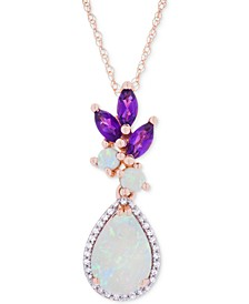 Opal (1-1/10 ct. t.w.), Amethyst (1/3 ct. t.w.) & Diamond Accent Pendant Necklace in 14k Rose Gold