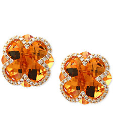 EFFY® Citrine (7-1/10 ct. t.w.) & Diamond (1/5 ct. t.w.) Clover Earrings in 14k Gold
