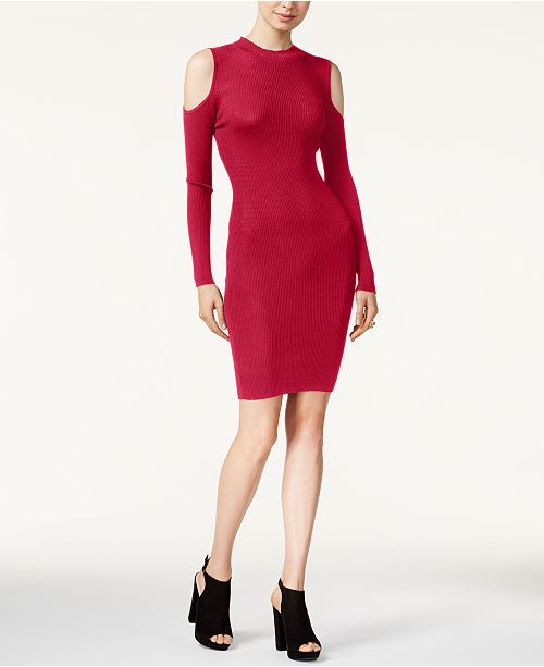 Bar III Cold-Shoulder Bodycon Dress, Created for Macy's