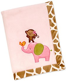 Jungle Embroidered Appliqué Plush Blanket