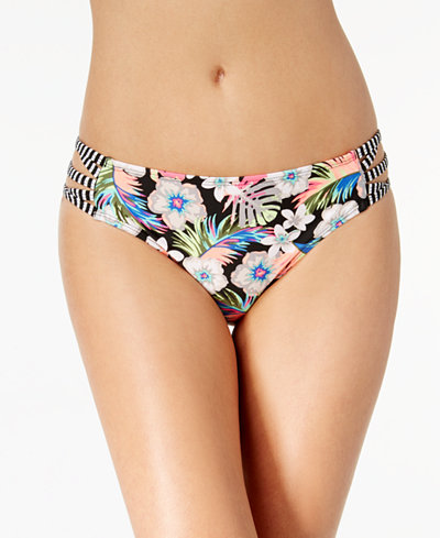 California Waves Juniors' Hibiscus Punch Strappy Hipster Bikini Bottoms