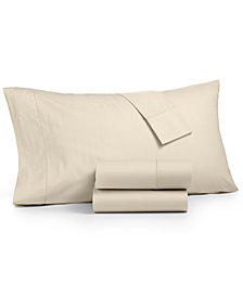 Martha Stewart Collection 4-Pc. Solid Queen Sheet Set, 400 Thread Count 100% Cotton Percale , Created for Macy's