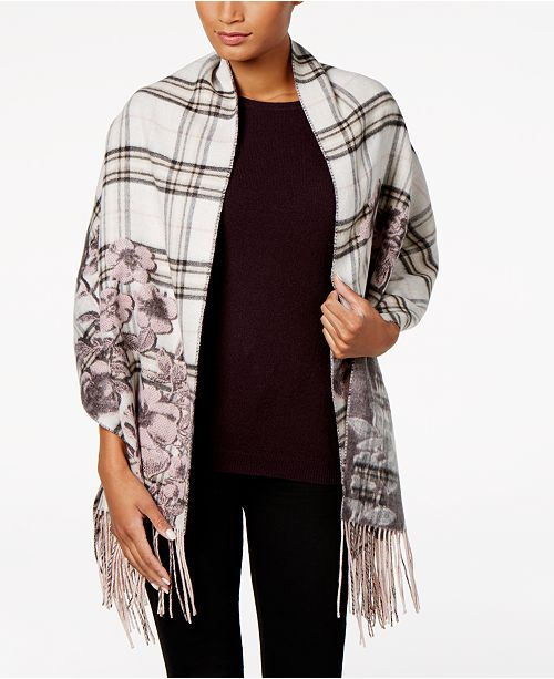 Floral-Over-Plaid Blanket Wrap & Scarf in One, Created for Macy's