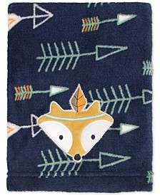 Arrow-Print Embroidered Appliqué Plush Blanket
