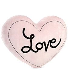 Little Love by NoJo Hugs & Kisses Embroidered Heart Velboa Decorative Pillow