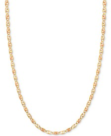 "20"" Tri-Color Valentina Chain (1/5mm) in 14k Gold, White Gold and Rose Gold"