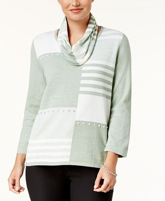 Alfred Dunner Winter Garden Petite Colorblocked Button-Trim Sweater