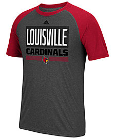 adidas Men's Louisville Cardinals Linear Stack Raglan T-Shirt