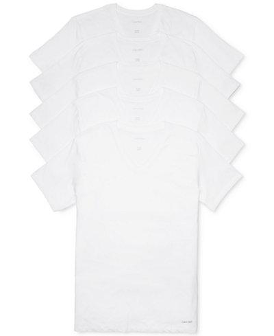 Calvin Klein Men's 5-Pk. Cotton Classics V-Neck Undershirts, Created for Macy's