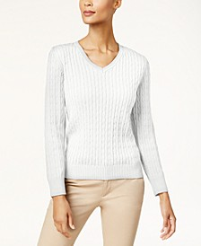 Petite Cotton Cable-Knit Sweater, Created for Macy's