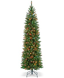 7' Kingswood Fir Pencil Hinged Tree With 300 Multicolor Lights