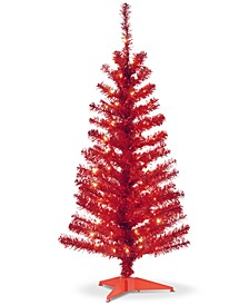 4' Red Tinsel Tree With Plastic Stand & 70 Clear Lights