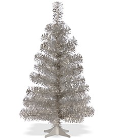 3' Silver Tinsel Tree With Plastic Stand
