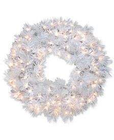 "30"" Wispy Willow Grande White Wreath With Silver Glitter & 100 Velvet Frost White Lights"