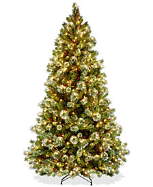 National Tree Company 6.5' Wintry Pine Medium Tree With Pine Cones, Red Berries, Snowflakes & 550 Clear Lights