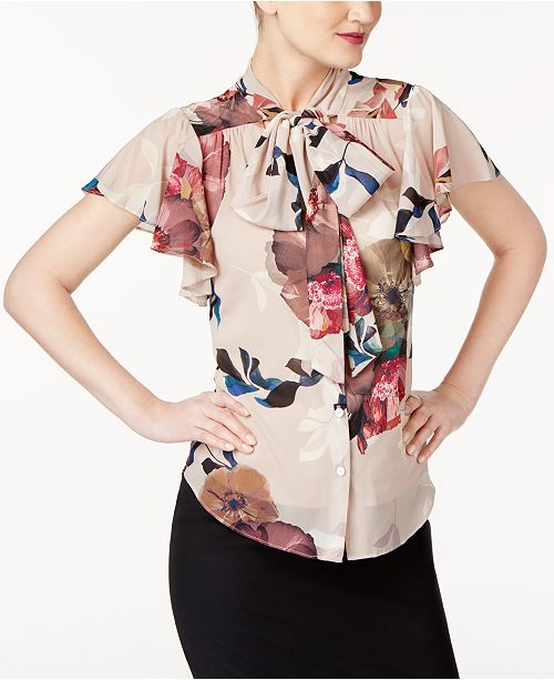 8d17729e28235 Trina Turk Flutter-Sleeve Tie-Neck Blouse   Reviews - Tops - Women ...