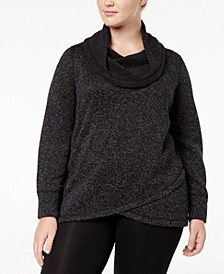 Plus Size Cowl-Neck Pullover, Created for Macy's