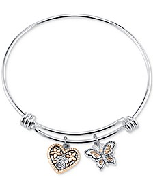 "Two-Tone Butterfly and Heart ""Sisters"" Charm Bangle Bracelet with Silver Plated Charms"
